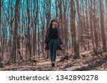 beautiful female walking in... | Shutterstock . vector #1342890278
