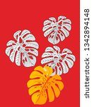vector tropical pattern with... | Shutterstock .eps vector #1342894148