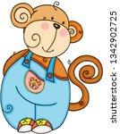 cute friendly monkey | Shutterstock .eps vector #1342902725