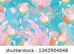 tropical jungle leaves and... | Shutterstock .eps vector #1342904048