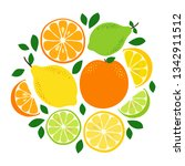 cute citrus fruits lemon  lime... | Shutterstock .eps vector #1342911512