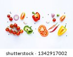 various fresh vegetables and... | Shutterstock . vector #1342917002