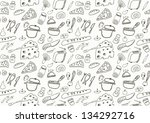 seamless food icons   Shutterstock .eps vector #134292716