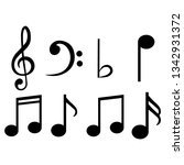 set of musical notes and... | Shutterstock .eps vector #1342931372