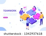 teamwork concept with puzzle.... | Shutterstock . vector #1342937618