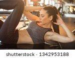 beautiful young sporty girl... | Shutterstock . vector #1342953188