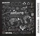 chalkboard eco recycle reuse... | Shutterstock .eps vector #1342963352