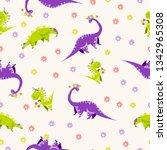 seamless dinosaur pattern with... | Shutterstock .eps vector #1342965308