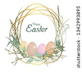 card happy easter holiday.... | Shutterstock .eps vector #1342993895