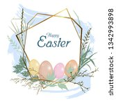 card happy easter holiday.... | Shutterstock .eps vector #1342993898