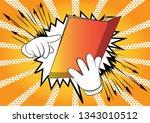 vector cartoon hand holding and ... | Shutterstock .eps vector #1343010512