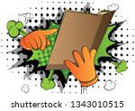vector cartoon hand holding and ... | Shutterstock .eps vector #1343010515
