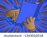 vector cartoon hand holding and ... | Shutterstock .eps vector #1343010518