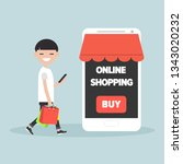 mobile online shopping.young... | Shutterstock .eps vector #1343020232
