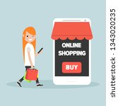 mobile online shopping.young... | Shutterstock .eps vector #1343020235