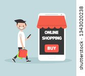 mobile online shopping.young... | Shutterstock .eps vector #1343020238