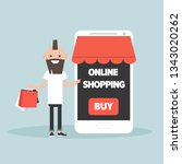 mobile online shopping.young... | Shutterstock .eps vector #1343020262