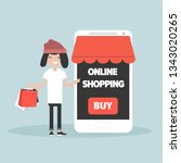 mobile online shopping.young... | Shutterstock .eps vector #1343020265
