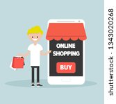 mobile online shopping.young... | Shutterstock .eps vector #1343020268