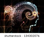 Composition of outlines of human head, technological and fractal elements suitable as a backdrop for the projects on artificial intelligence, computer science and future technologies - stock photo