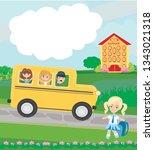 happy kids go to school | Shutterstock .eps vector #1343021318