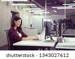 young female software developer ... | Shutterstock . vector #1343027612