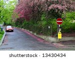 residential street with a pink...   Shutterstock . vector #13430434