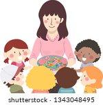 illustration of kids receiving... | Shutterstock .eps vector #1343048495