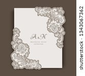 rectangle card with floral lace ... | Shutterstock .eps vector #1343067362