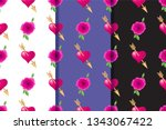 set of three seamless patterns... | Shutterstock .eps vector #1343067422