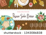 passover seder table with seder ... | Shutterstock .eps vector #1343086838