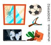 soccer broken window  pot with... | Shutterstock .eps vector #1343095952