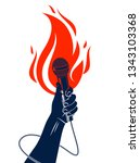 microphone in hand on fire  hot ... | Shutterstock .eps vector #1343103368