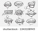 set of comic bubbles and design ... | Shutterstock .eps vector #1343108945