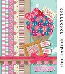 pink scrapbook ice cream happy... | Shutterstock .eps vector #134311142