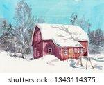 Watercolor Snow Barn Painting