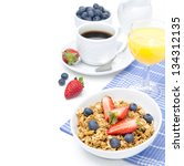 breakfast with homemade granola ... | Shutterstock . vector #134312135