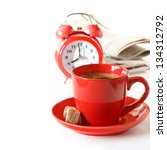 Good morning with cup of coffee and newspaper. - stock photo