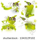 spring ribbon banners with... | Shutterstock .eps vector #1343129102