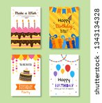set of birthday greeting and... | Shutterstock .eps vector #1343134328