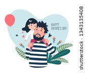 happy father s day card. cute... | Shutterstock .eps vector #1343135408