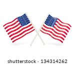 two wavy flags of united states ... | Shutterstock . vector #134314262