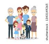happy big family portrait. mom... | Shutterstock . vector #1343149265
