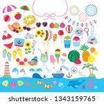 summer illustration set | Shutterstock .eps vector #1343159765