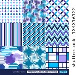 retro backgrounds set  blue and ... | Shutterstock .eps vector #134316122