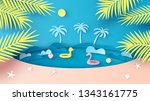 sea view in summer with water... | Shutterstock .eps vector #1343161775