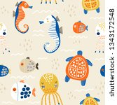 seamless childish pattern with... | Shutterstock .eps vector #1343172548