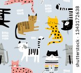 seamless pattern with cute... | Shutterstock .eps vector #1343172638