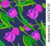 spring floral seamless pattern... | Shutterstock . vector #1343176718
