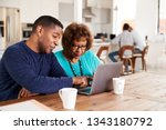 middle aged black man helping... | Shutterstock . vector #1343180792
